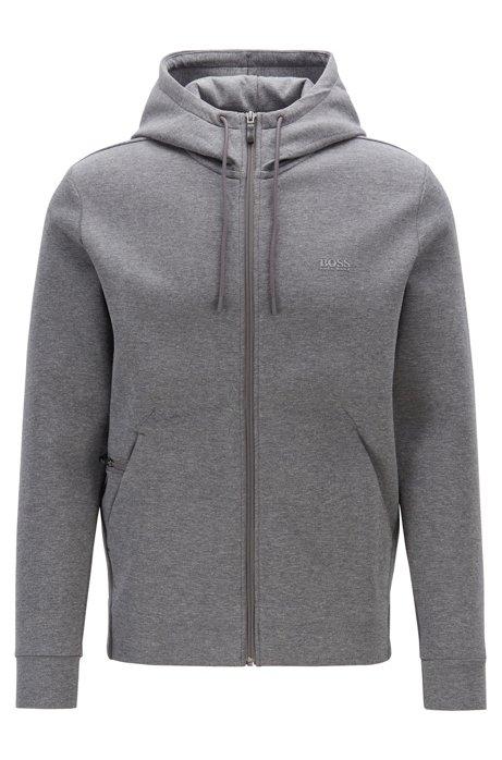 Zip-through hooded sweatshirt with concealed phone pocket, Grey