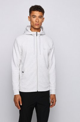 Zip-through hooded sweatshirt with concealed phone pocket, Light Grey