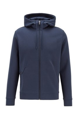 Zip-through hooded sweatshirt with concealed phone pocket, Dark Blue