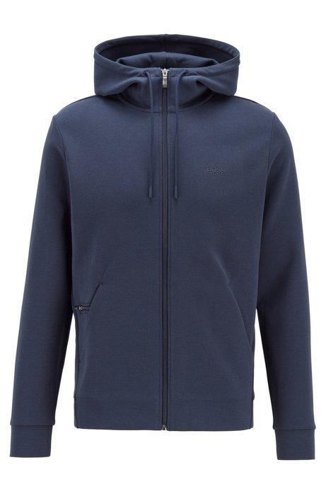 Sweat à capuche zippé avec poche dissimulée pour téléphone, Bleu foncé