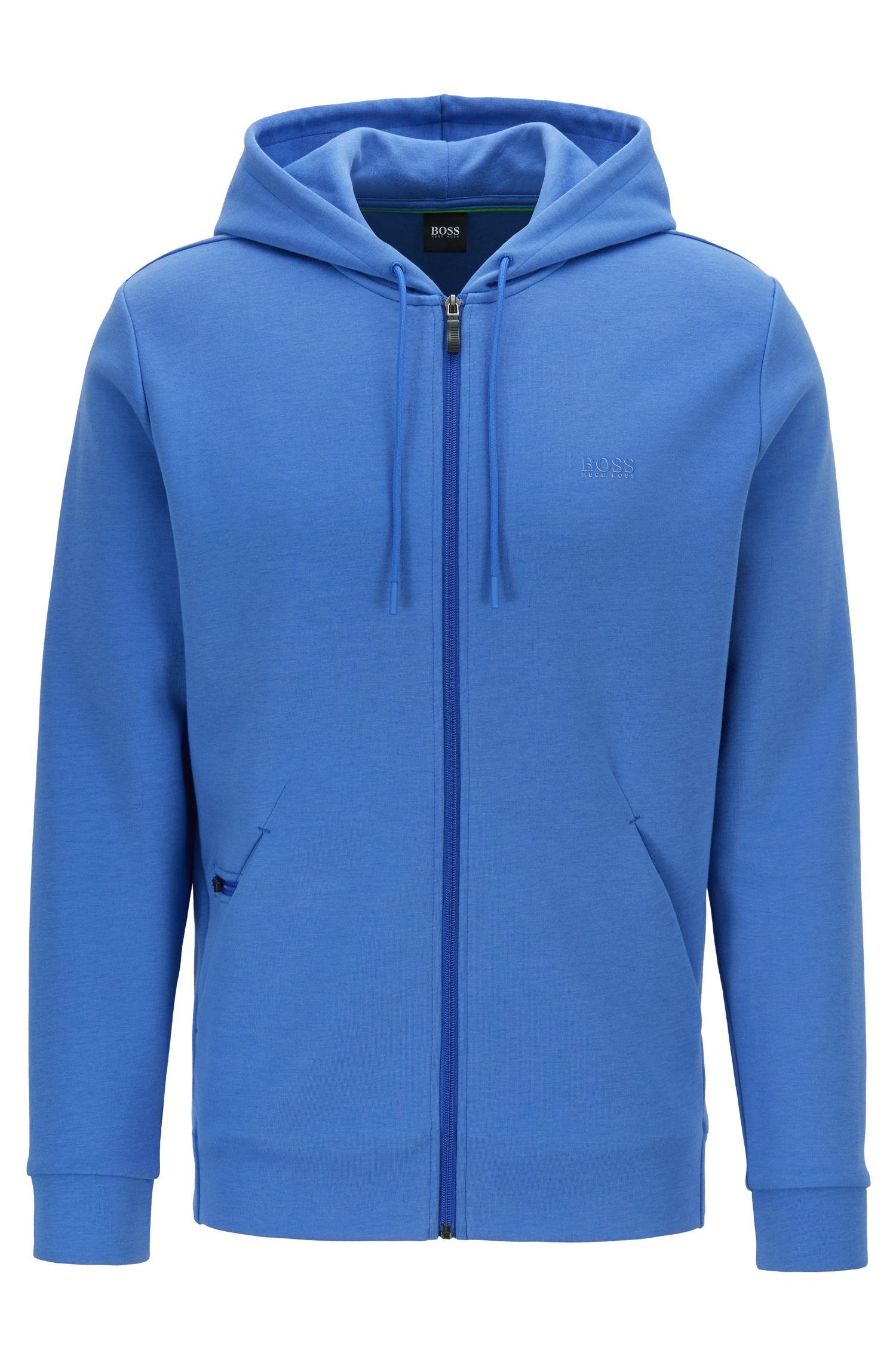 Sweater met capuchon, rits en verdekte telefoonzak, Blauw