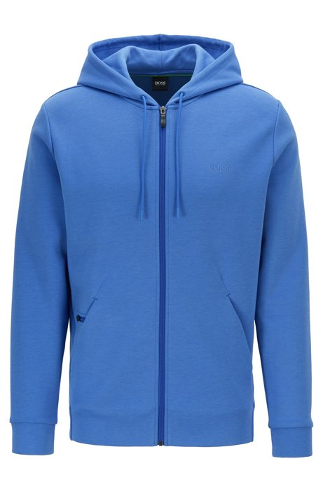 Zip-through hooded sweatshirt with concealed phone pocket, Blue