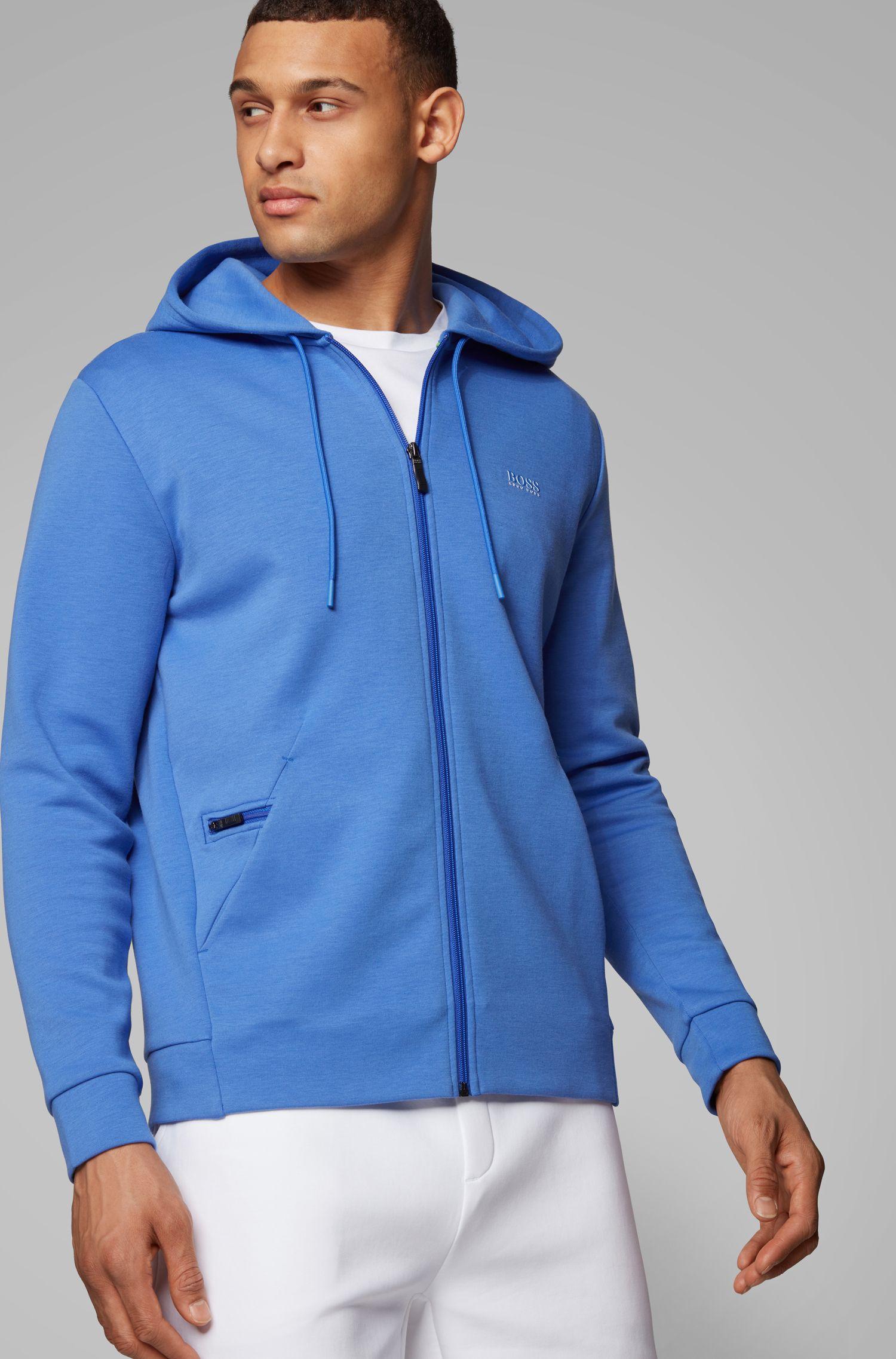 Sudadera con capucha, cremallera integral y bolsillo oculto para el teléfono, Azul