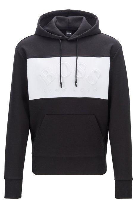 Relaxed-Fit Kapuzen-Sweatshirt mit bogenförmigem Logo, Schwarz