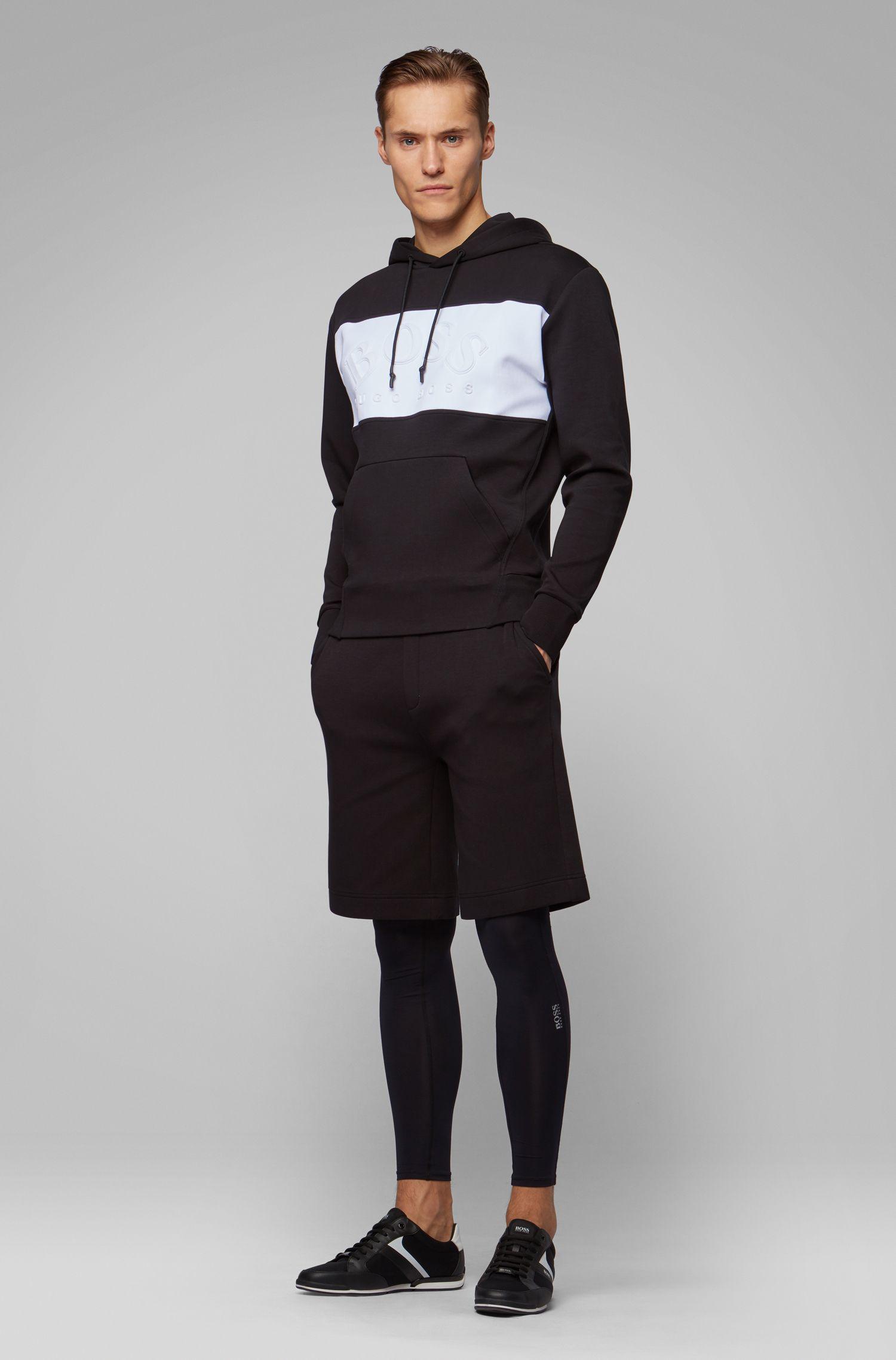Sweat à capuche Relaxed Fit avec logo incurvé, Noir