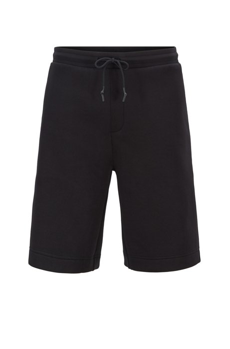 Relaxed-fit shorts with logo-embossed pocket, Black