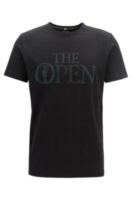 Camiseta con logo exclusivo The Open en punto de algodón elástico, Negro