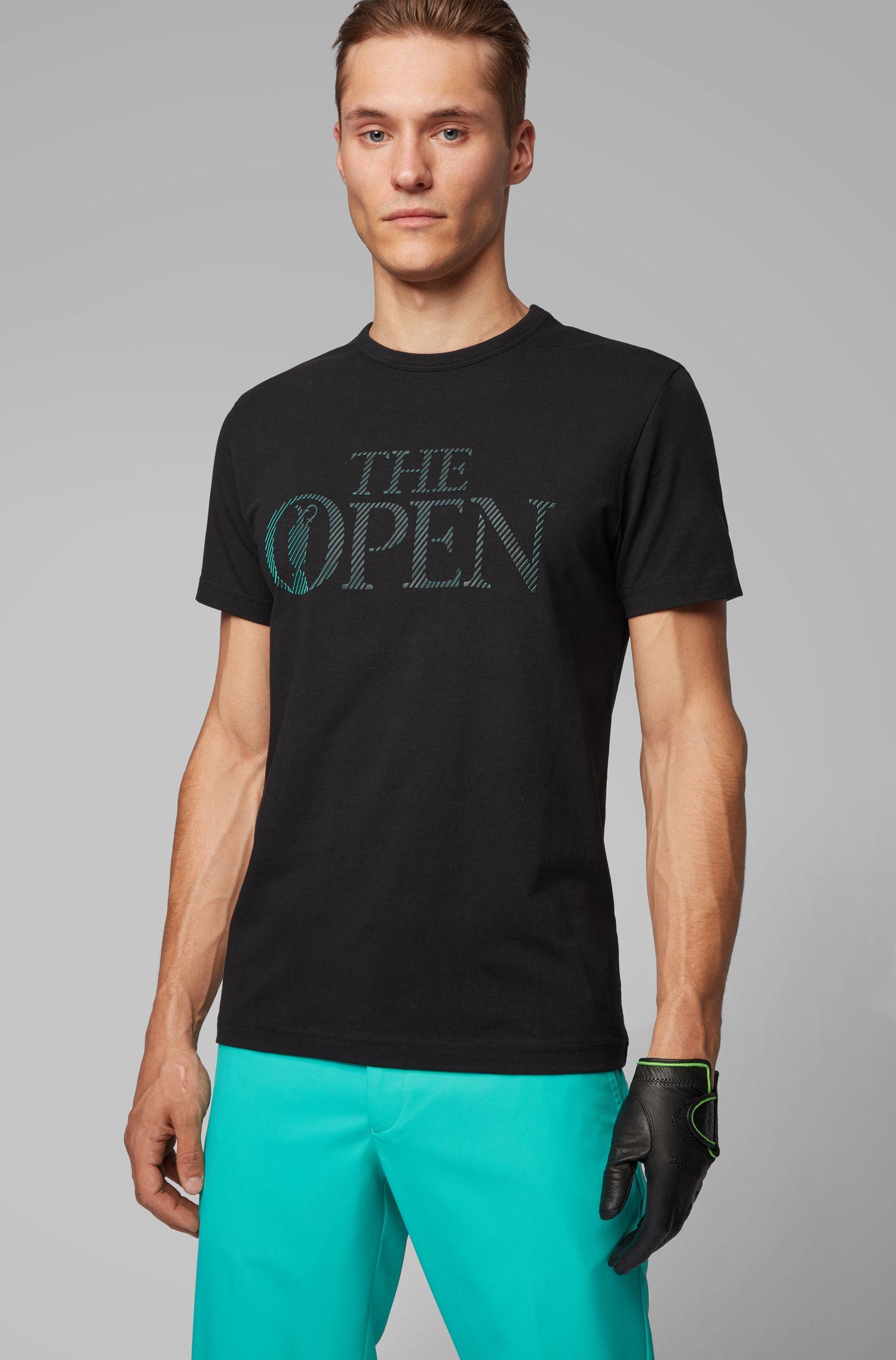T-shirt van stretchkatoenen jersey met exclusief The Open-logo, Zwart