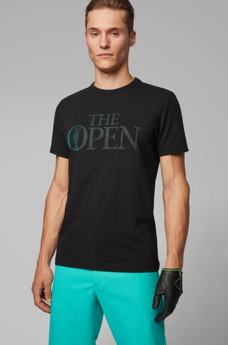 The Open Exclusive T-Shirt aus Stretch-Jersey mit Logo, Schwarz