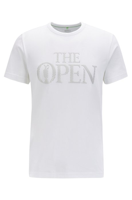 The Open Exclusive logo T-shirt in stretch-cotton jersey, White