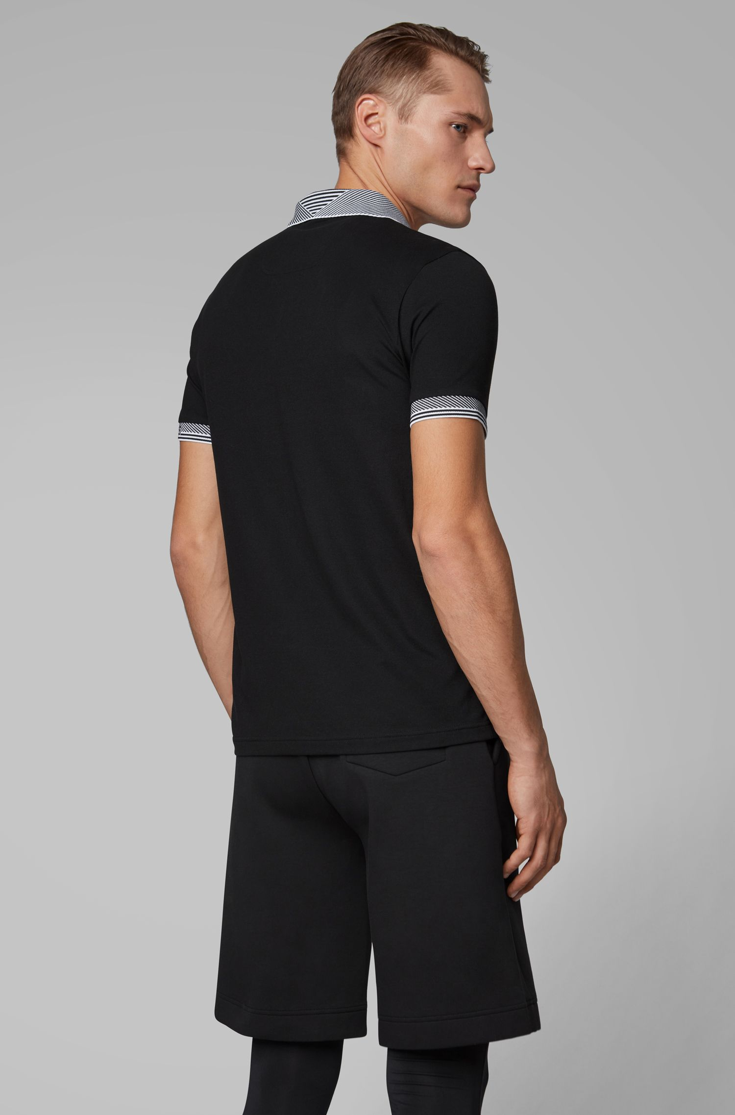 Slim-fit polo shirt with S.Café® and striped jacquard details, Black