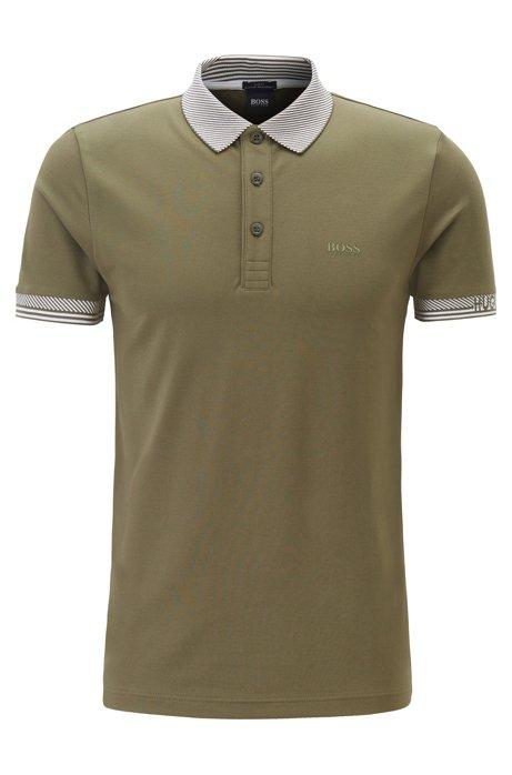 Polo Slim Fit en fibres S.Café® avec détails jacquard à rayures, Vert sombre