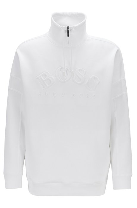 Relaxed-fit sweatshirt with curved logo and drawstring collar, White
