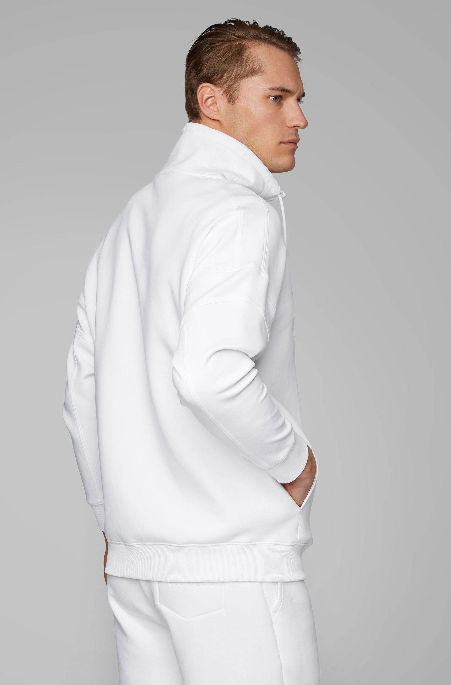 Felpa relaxed fit con logo curvilineo e colletto con coulisse, Bianco