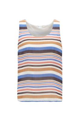 Ärmellose Bluse aus gestreiftem Plissee-Stoff, Blau