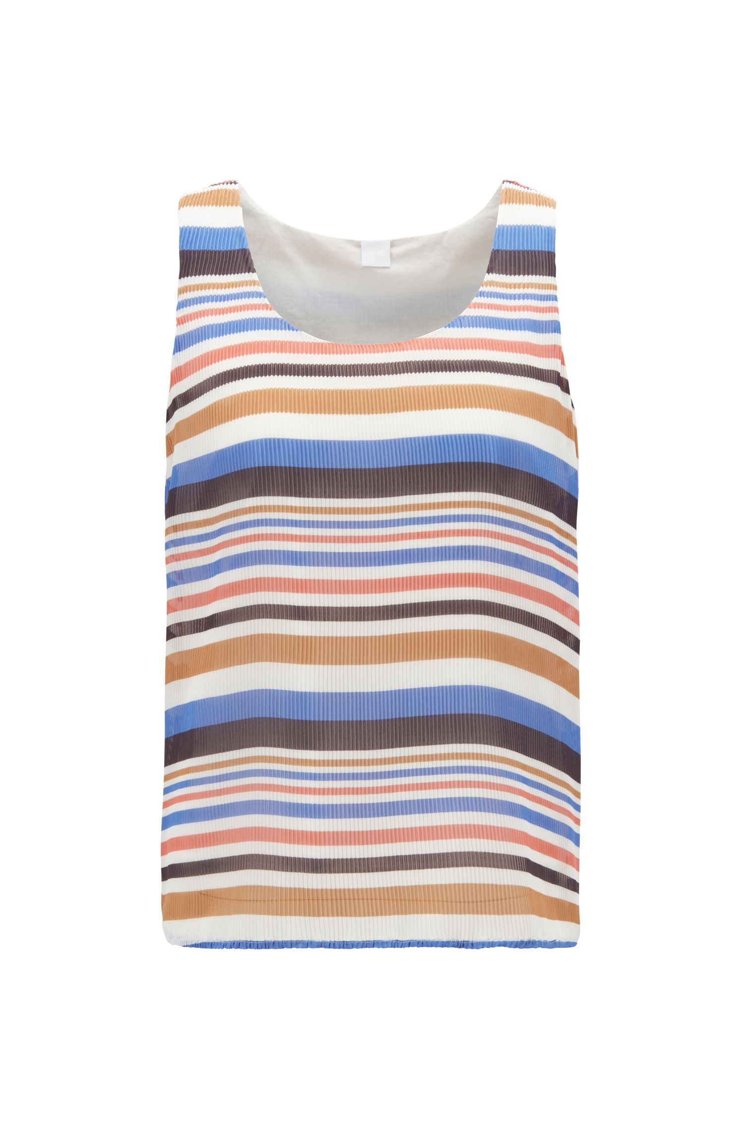 Sleeveless blouse in striped plissé fabric, Blue