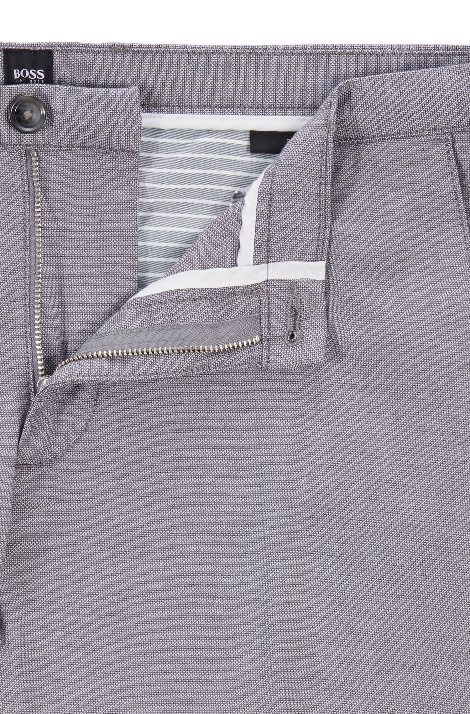 Chino Slim Fit en coton stretch à micro motif, Gris