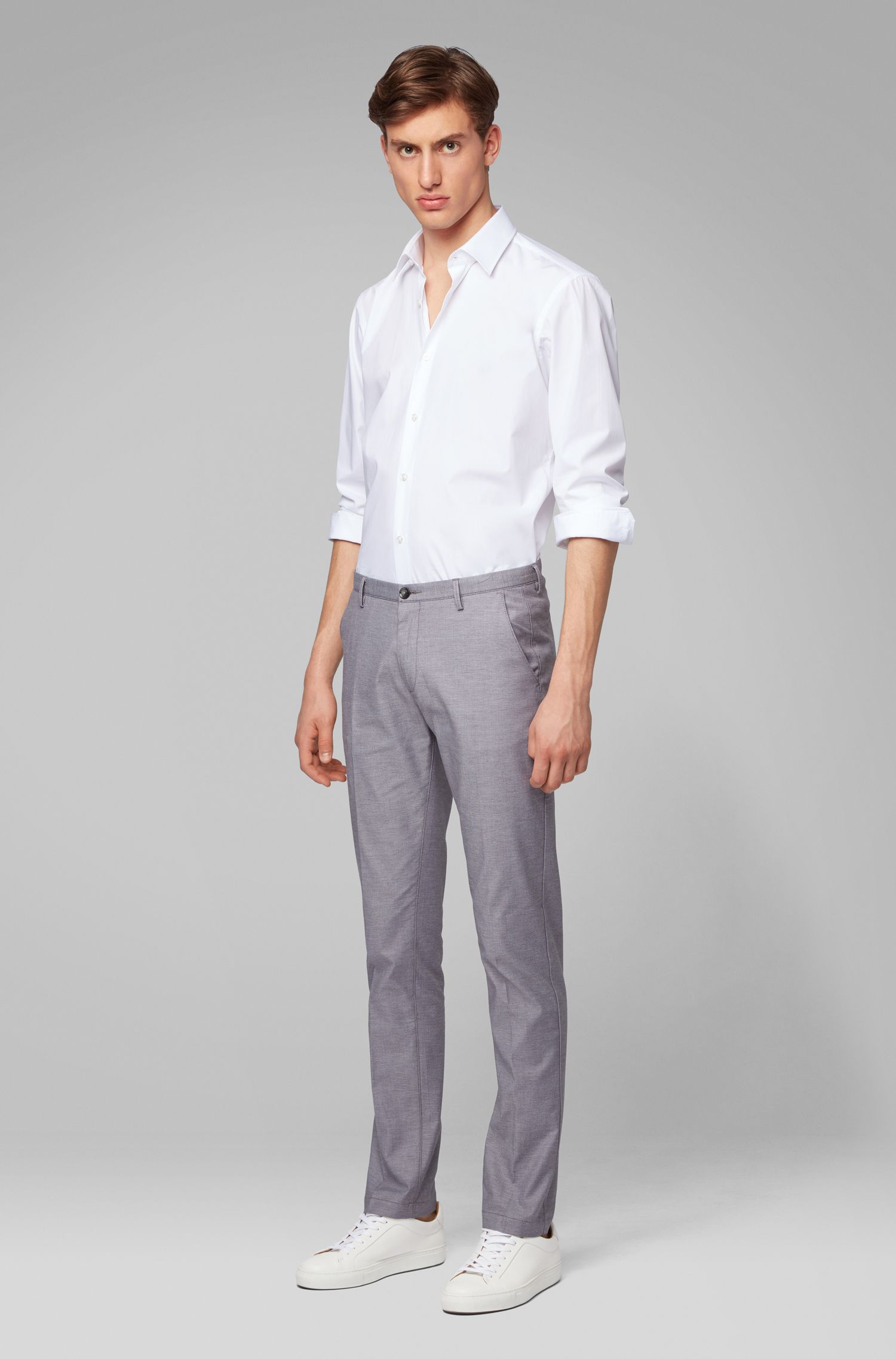 Slim-fit chinos in micro-patterned stretch cotton, Grey