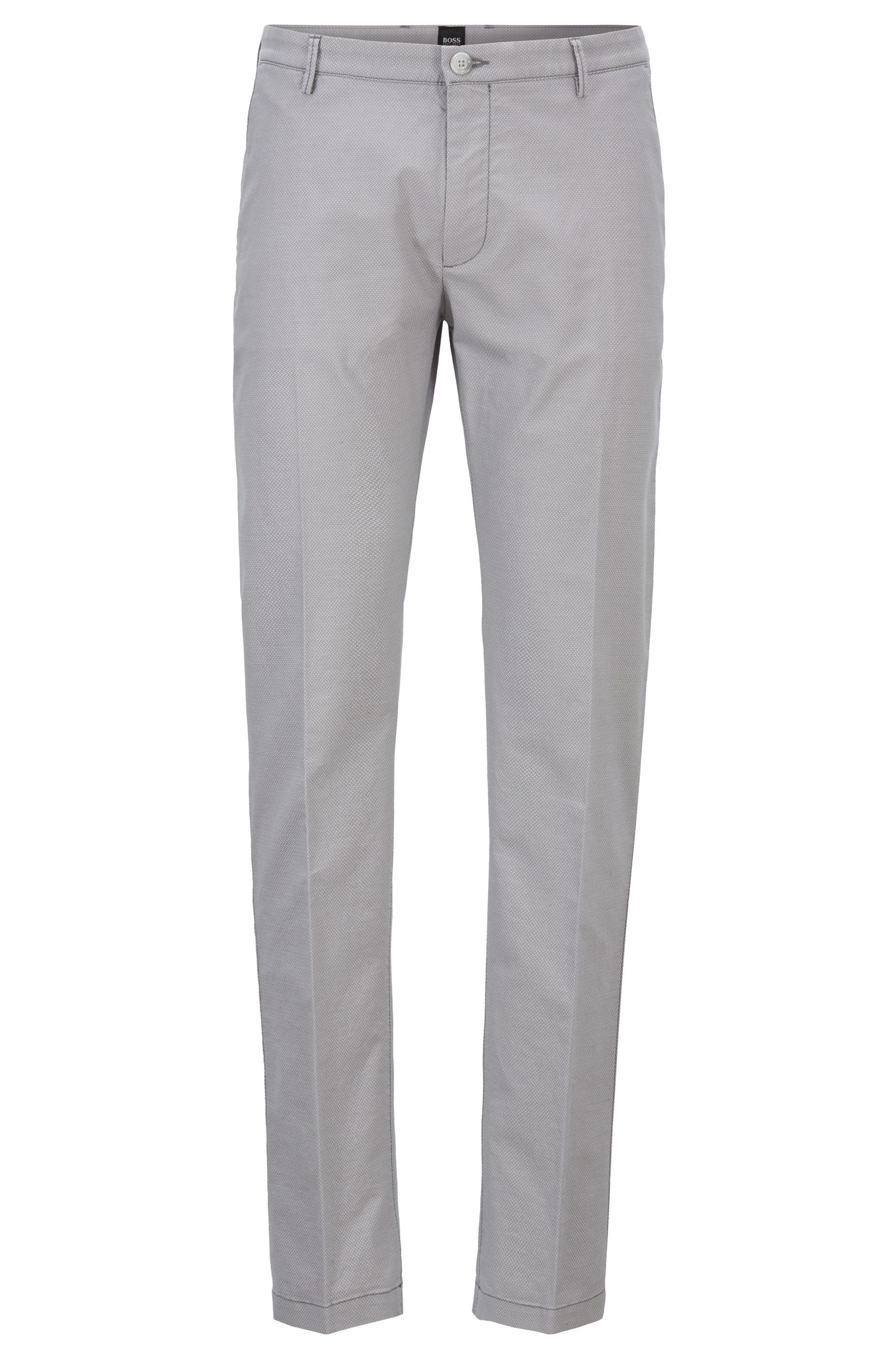 Chino Slim Fit en coton stretch à micro motif, Gris chiné