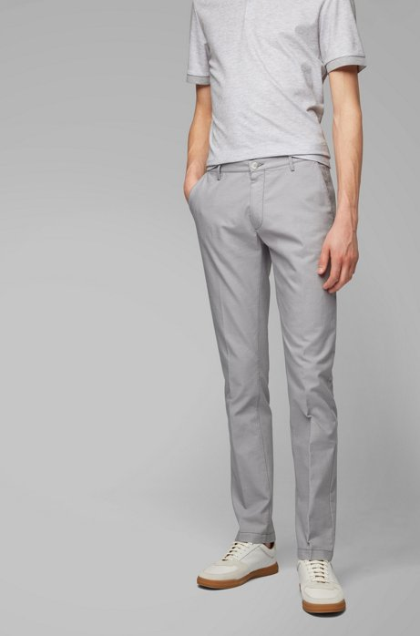Slim-Fit Chino aus Stretch-Baumwolle mit filigranem Muster, Hellgrau