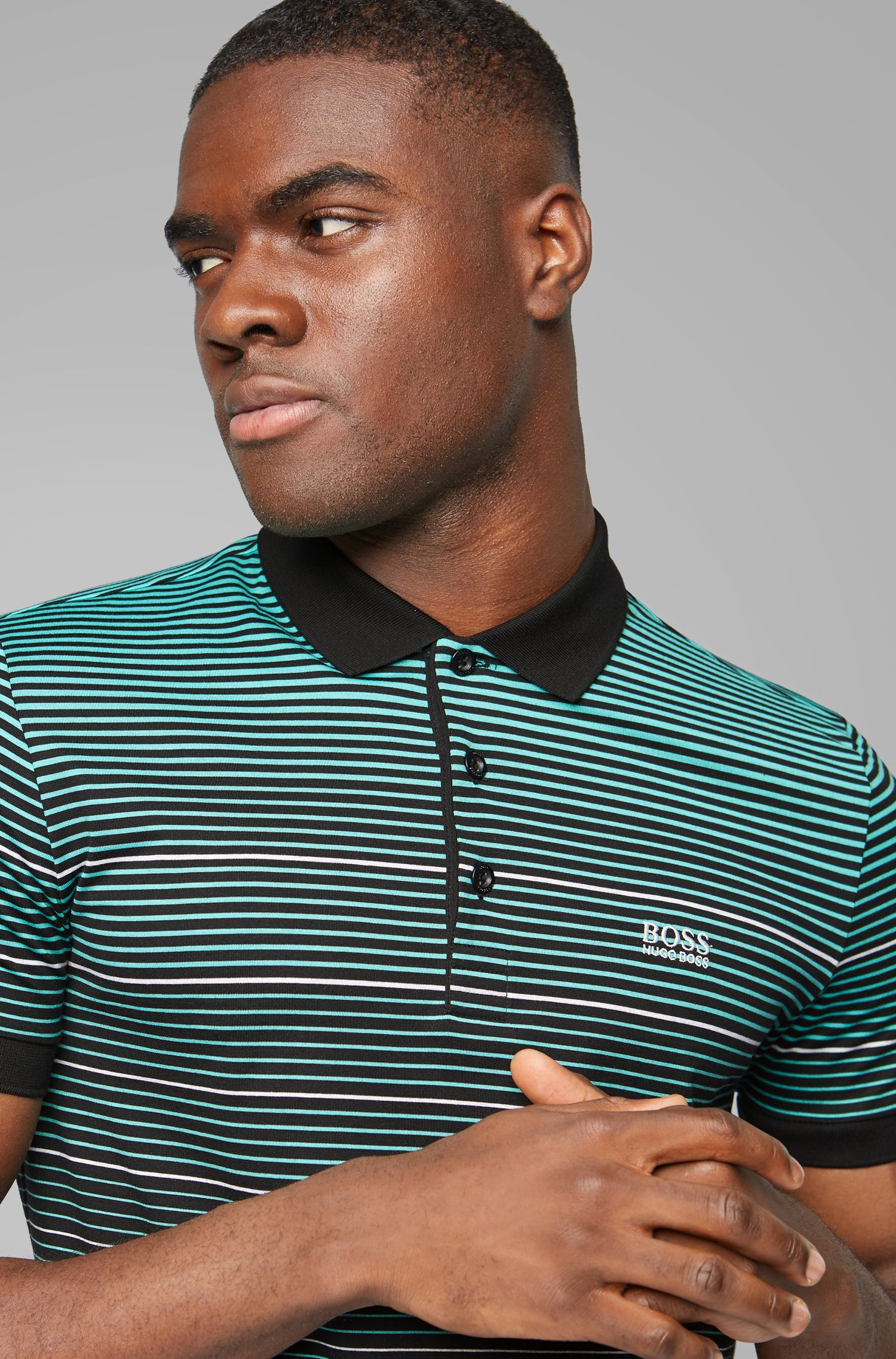 Regular-fit polo shirt in single-jersery cotton, Black