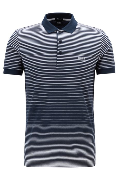 Regular-fit polo shirt in single-jersery cotton, Dark Blue