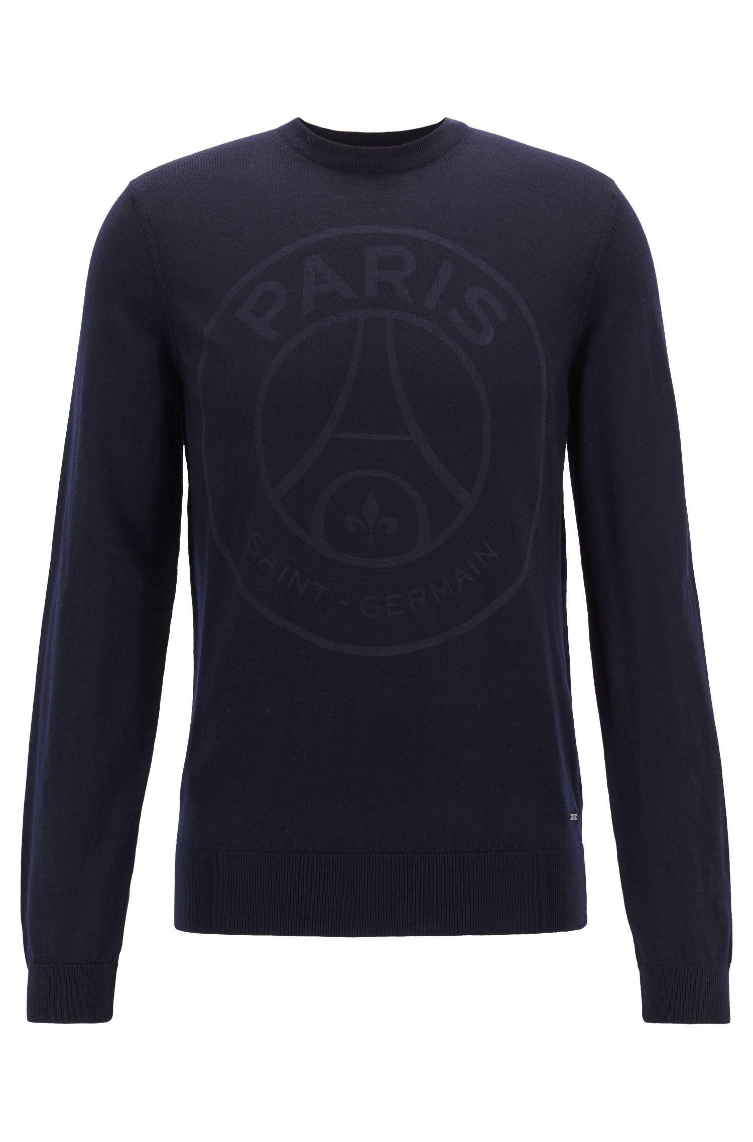 Limited-edition wool sweater with Paris Saint-Germain logo, Dark Blue