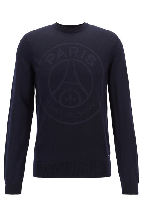Limited-edition wool sweater with Paris Saint-Germain logo, Dark Blue