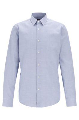 Camisa regular fit de algodón con microtextura, Azul