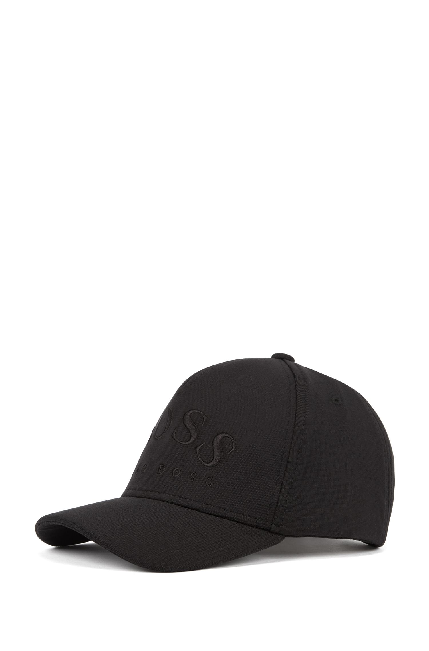 Lichte pet van stretchjersey met gebogen logo, Zwart