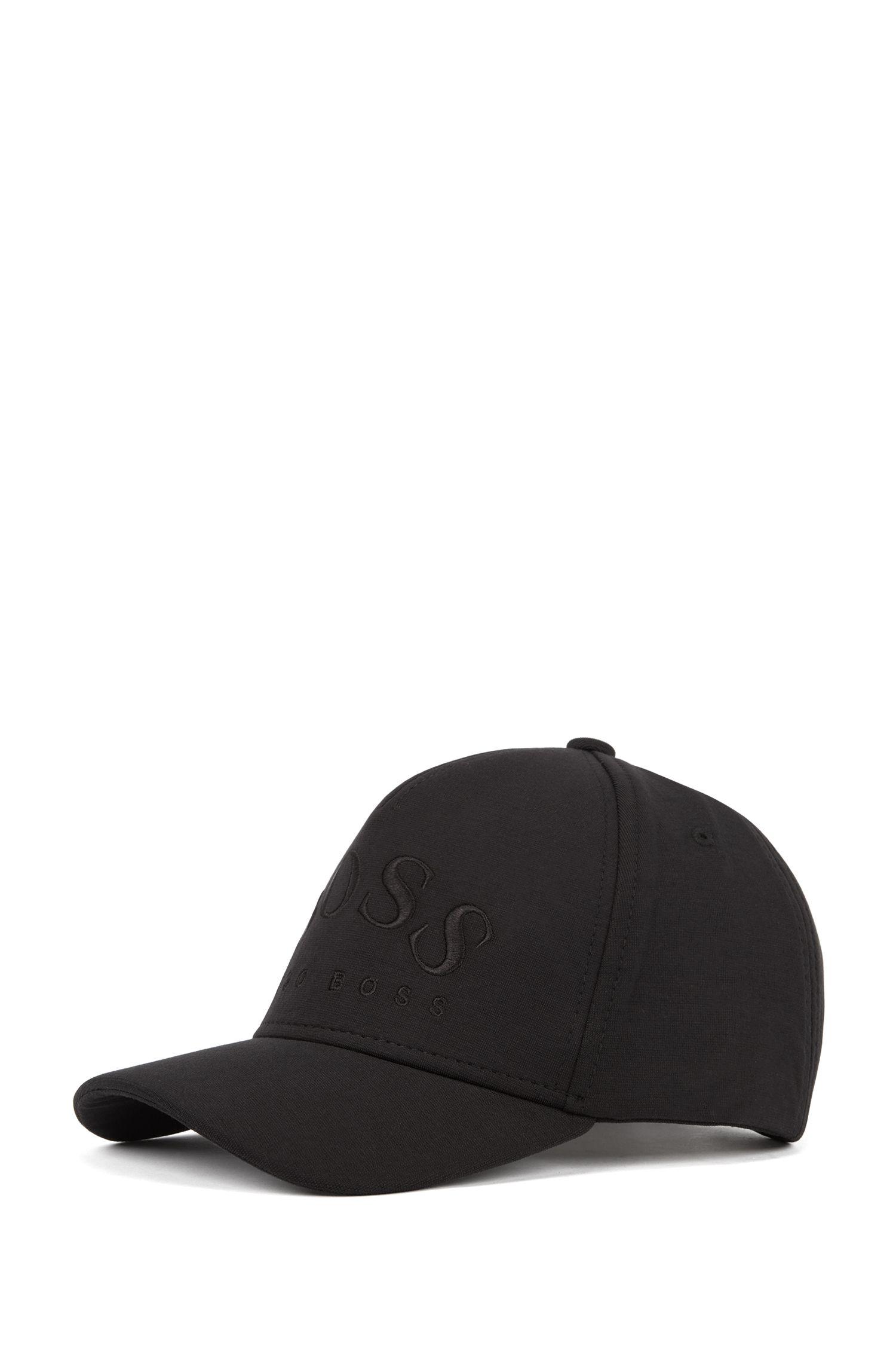 Cappellino leggero in jersey elasticizzato con logo arrotondato, Nero