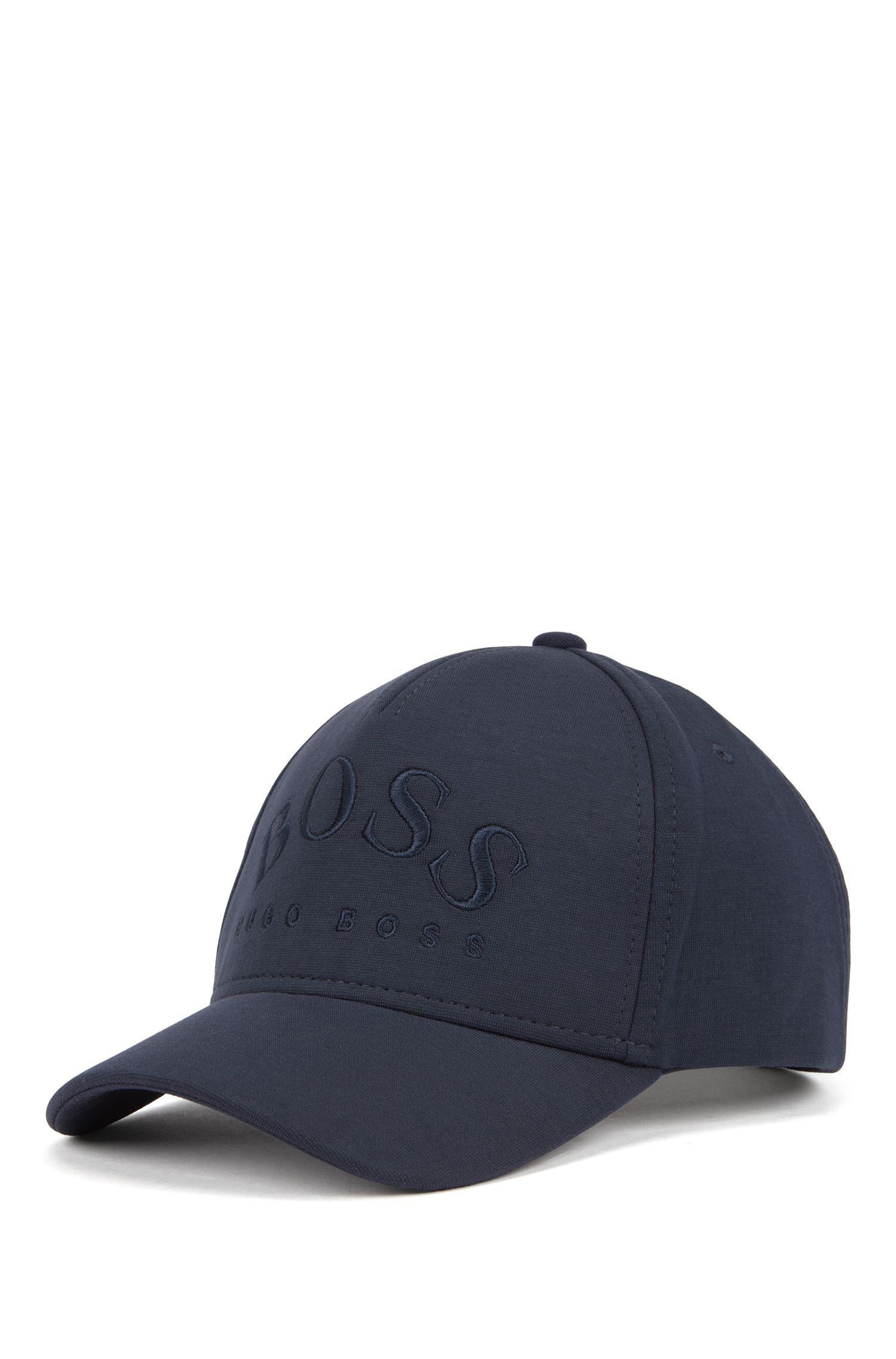 Lichte pet van stretchjersey met gebogen logo, Donkerblauw