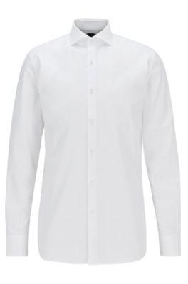 Camicia slim fit in popeline di cotone italiano, Bianco