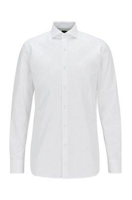 Camisa slim fit en popelín de algodón italiano, Blanco