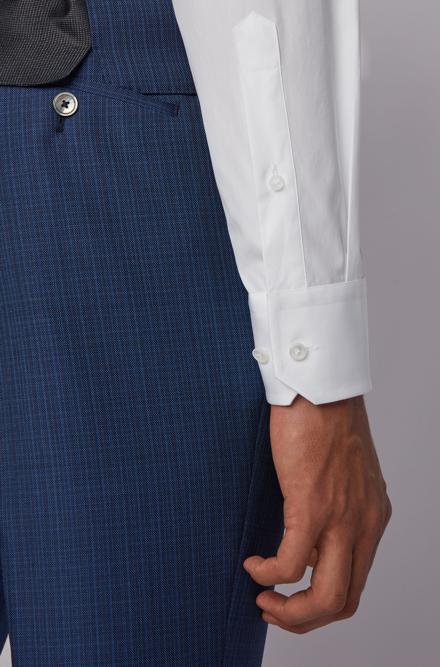 Slim-fit shirt in Italian cotton poplin, White