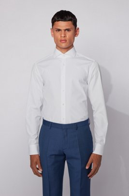 Slim-fit shirt in Italian cotton poplin, ホワイト