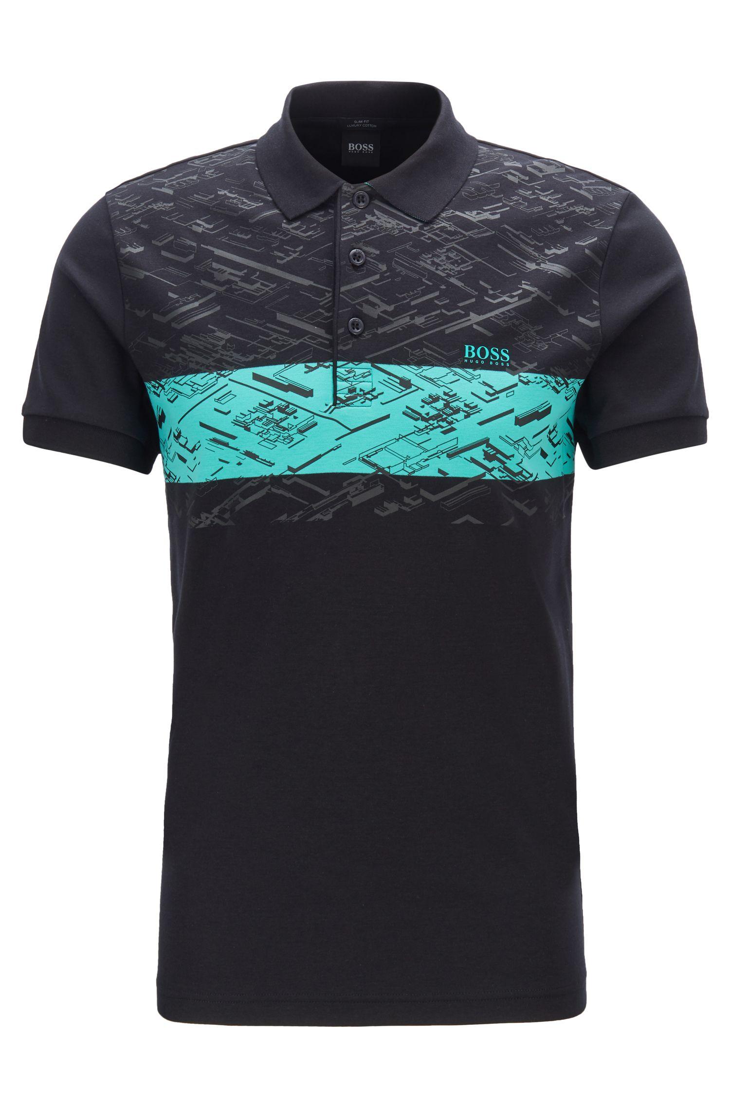 Slim-fit polo shirt in interlock cotton, Black