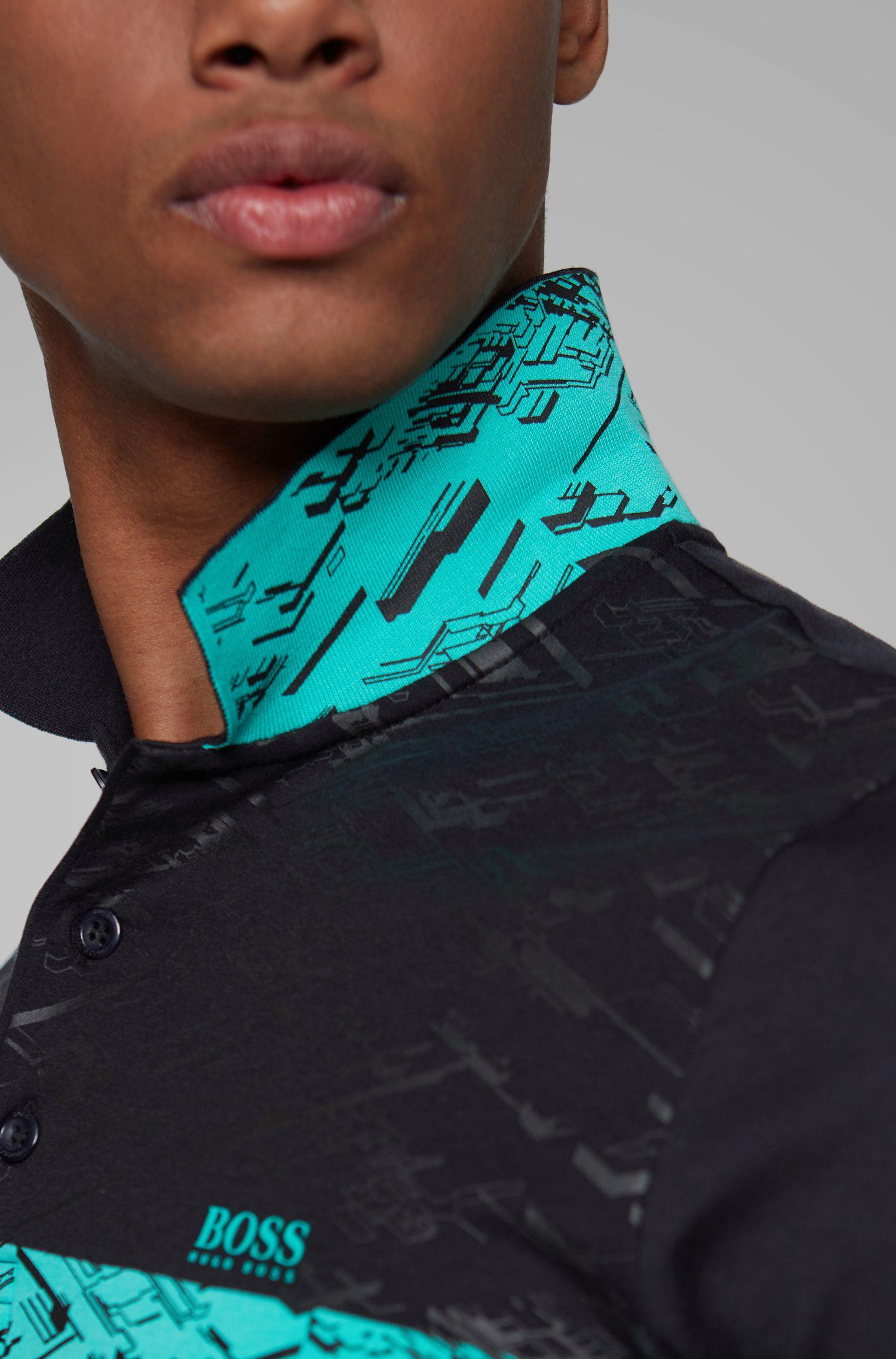 Polo Slim Fit en coton interlock, Noir