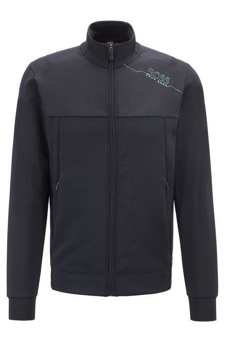 Slim-fit sweatshirt with zip front and perforated panels, Black