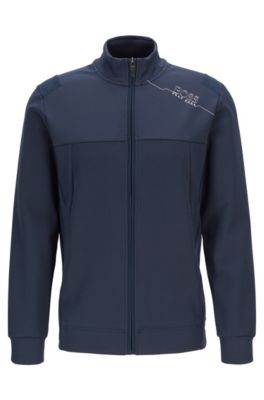 Slim-fit sweatshirt with zip front and perforated panels, Dark Blue