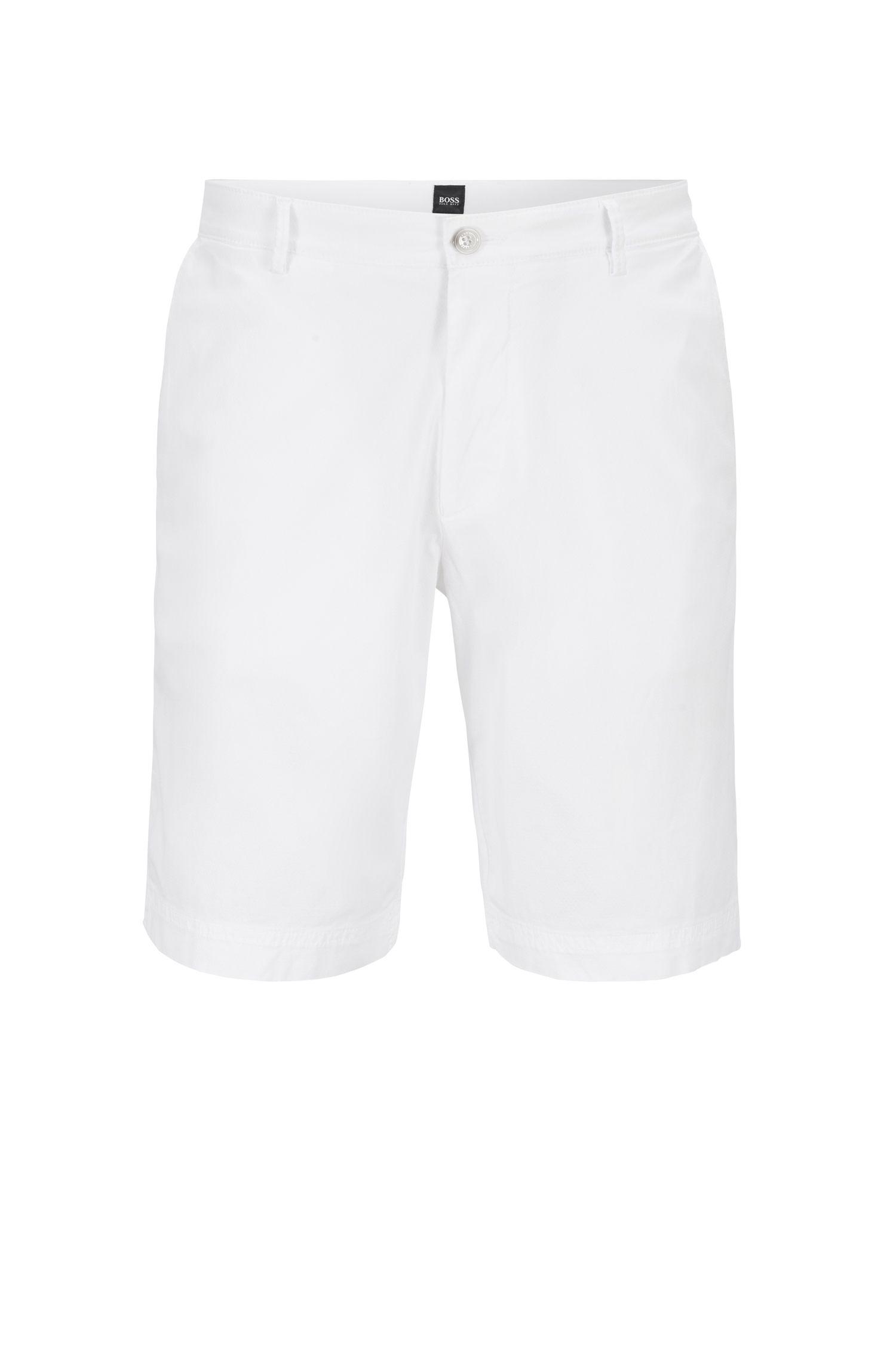 Short léger en coton stretch italien à la finition surteinte, Blanc