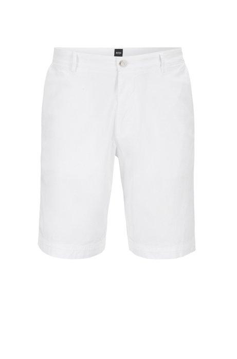 Leichte Regular-Fit Shorts aus italienischer Stretch-Baumwolle mit überfärbtem Finish, Weiß