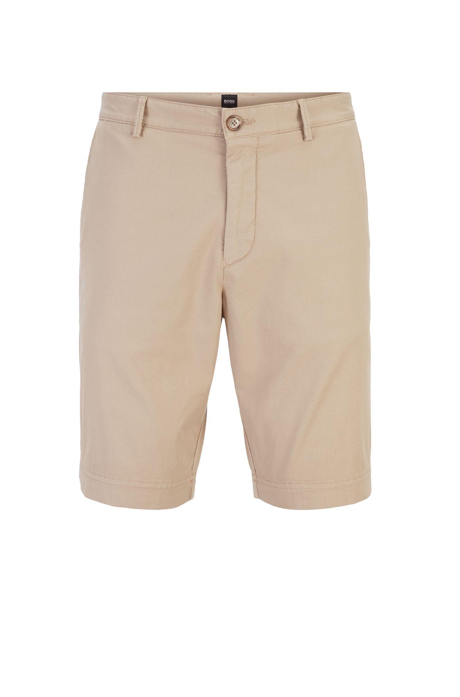 Lightweight shorts in Italian stretch cotton with overdyed finish, Light Beige