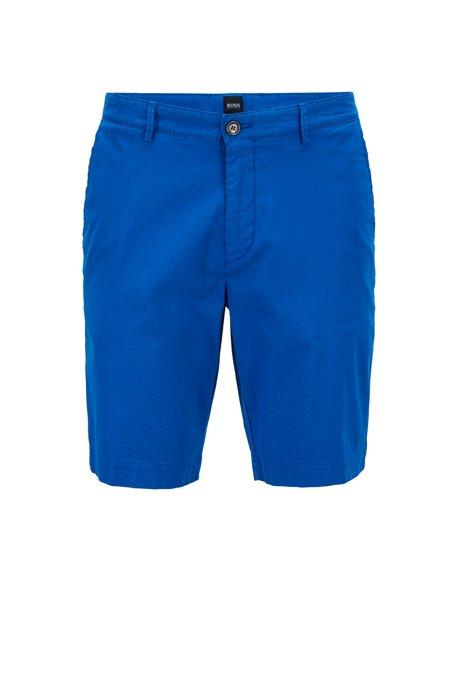 Leichte Regular-Fit Shorts aus italienischer Stretch-Baumwolle mit überfärbtem Finish, Blau