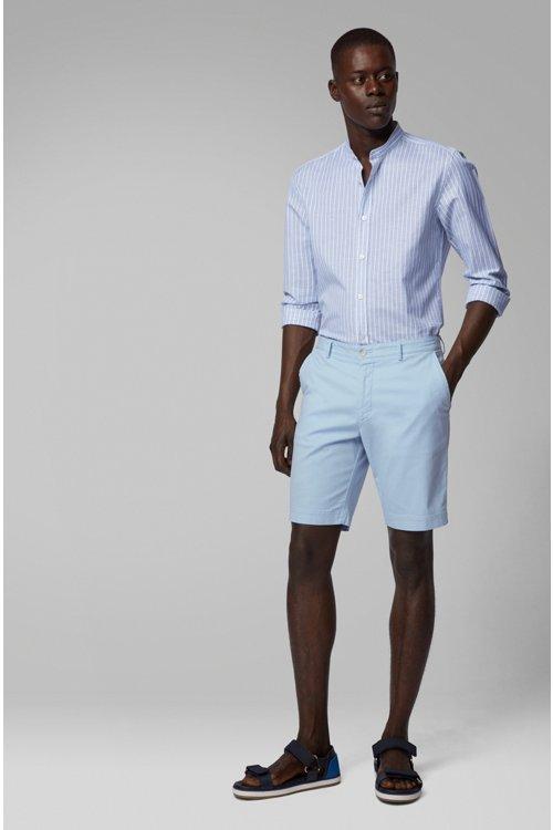 Hugo Boss - Shorts ligeros en algodón elástico italiano con tinción especial - 3