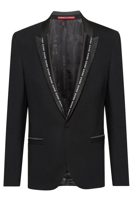 Extra-slim-fit dinner jacket with logo-tape lapels, Black