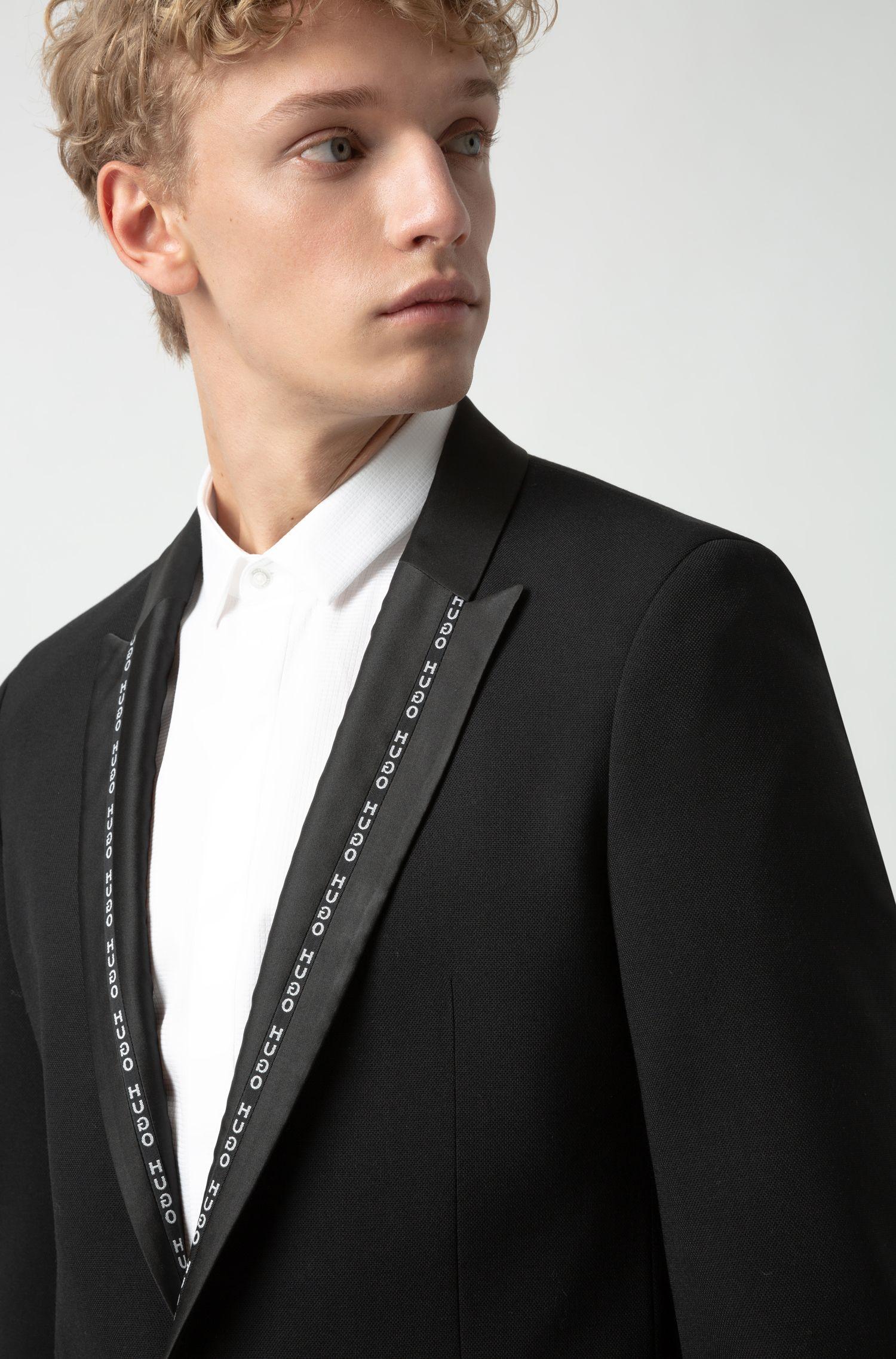 Extra slim-fit smokingcolbert met logobies aan de revers, Zwart