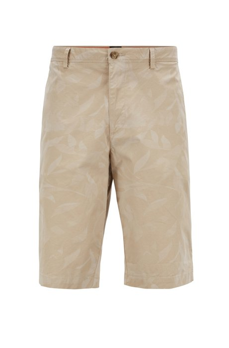 Lightweight shorts in camouflage-printed paper-touch stretch cotton, Light Beige