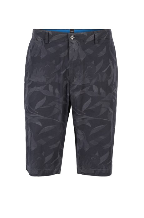 Regular-Fit Shorts aus leichter Stretch-Baumwolle mit Camouflage-Print und Paper-Touch-Finish, Dunkelblau