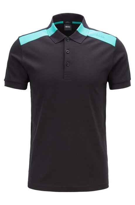 Slim-fit polo shirt with contrast shoulder inserts, Black